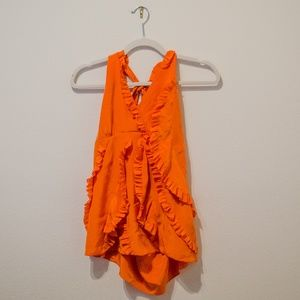 BCBGmaxazria orange halter top with ruffles